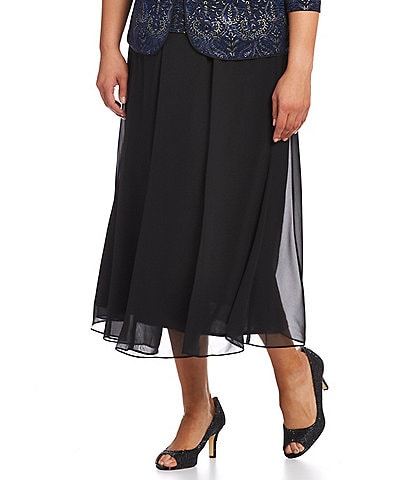 Alex Evenings Plus Chiffon Panel Midi Skirt