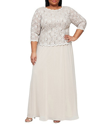 Alex Evenings Plus Sequin Lace Scalloped Hem Bodice Chiffon Skirted Dress
