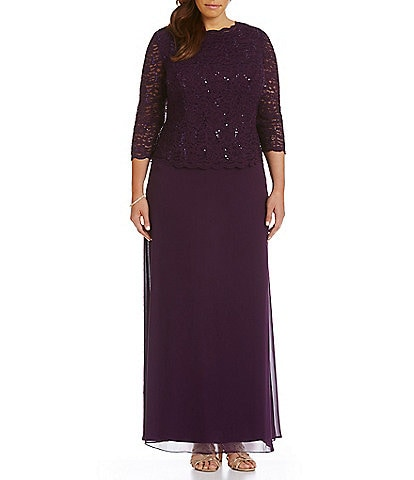 Alex Evenings Plus Lace Bodice Mock 2-Fer Dress