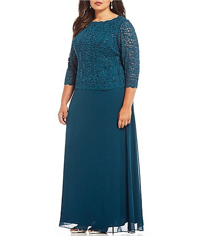 e8ea77d33af Alex Evenings Plus Lace Bodice Mock 2-Fer Dress