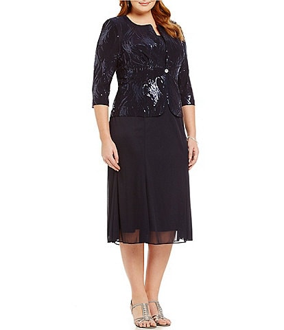 Alex Evenings Plus Mock T-Length Sequin Jacket Dress