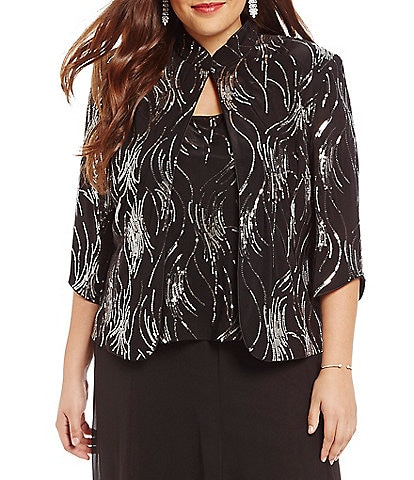 Alex Evenings Plus Sequin Mandarin Collar Twinset