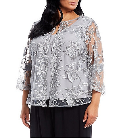 Alex Evenings Plus Size 3/4 Sleeve Floral Embroidered Mesh Twinset