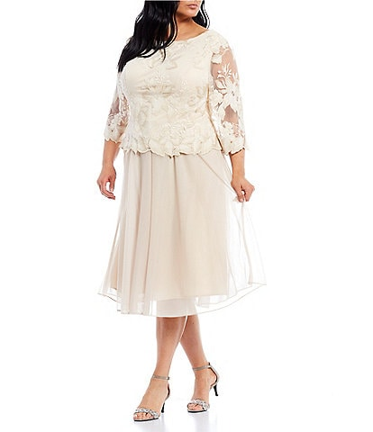 Alex Evenings Plus Size 3/4 Sleeve Floral Embroidered Stretch Mesh Dress