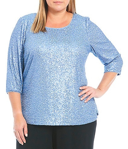 Alex Evenings Plus Size 3/4 Sleeve Jewel Neck Stretch Sequin Side Slit Tunic