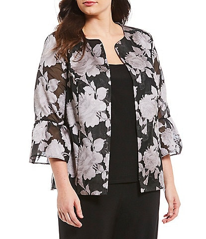 Alex Evenings Plus Size Bell Sleeve Printed Twinset