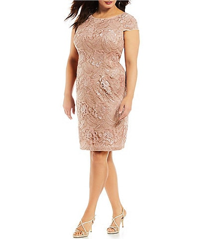 Alex Evenings Plus Size Cap Sleeve Floral Embroidered Sequin Dress