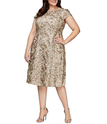 Alex Evenings Plus Size Cap Sleeve Round Neck Rosette Lace Dress