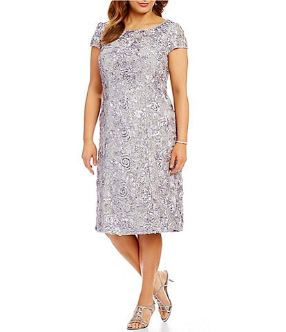 5a08258698b07 Alex Evenings Plus Size Cap Sleeve Rosette Lace Dress