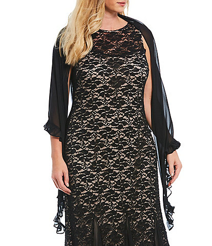 Alex Evenings Plus Size Chiffon Pointed Hem Shawl