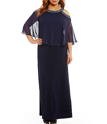 Popover Plus-Size 3/4-Sleeve Formal Dresses & Gowns | Dillard\'s