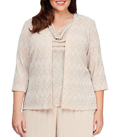 Alex Evenings Plus Size Cowl Neck Metallic Knot Chevron Stripe Twinset