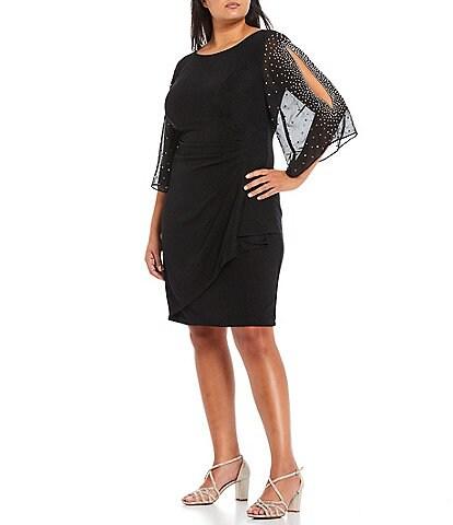 Alex Evenings Plus Size Round Neck 3/4 Sleeve Embellished Illusion Ruffle Sheath Dress