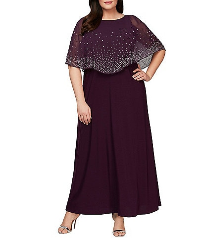 Alex Evenings Plus Size Embellished Popover Stretch Matte Jersey Gown