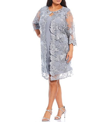 Alex Evenings Plus Size Embroidered 3/4 Sleeve One Piece Faux Jacket Dress