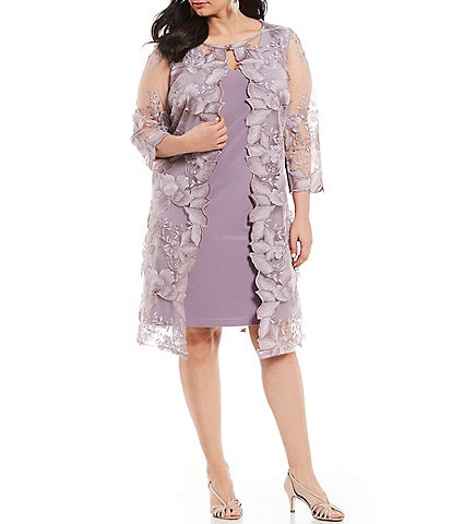 a76b6cf8d7b1b Alex Evenings Plus Size Embroidered 3 4 Sleeve Jacket Dress