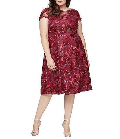 Alex Evenings Plus Size Embroidered Mesh Midi Length Sequin Soutache A-Line Dress