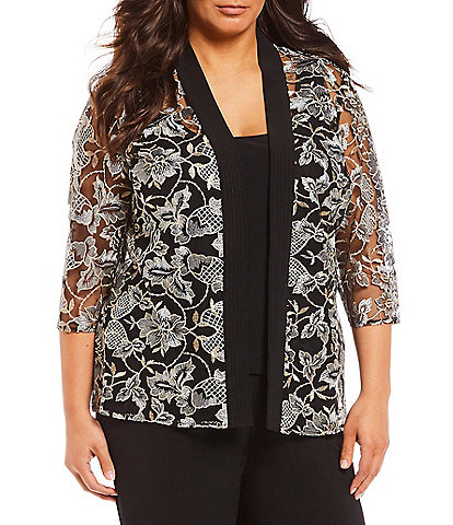 Alex Evenings Plus Size Embroidered Twinset Top