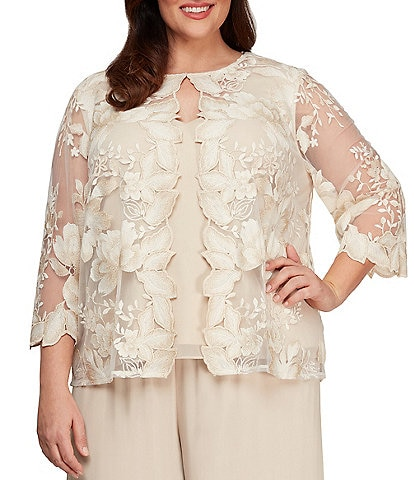 Alex Evenings Plus Size Floral Embroidered Mock Twinset