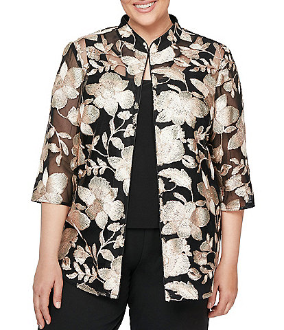 Alex Evenings Plus Size Floral Print Embroidered Mandarin Collar Twinset Top
