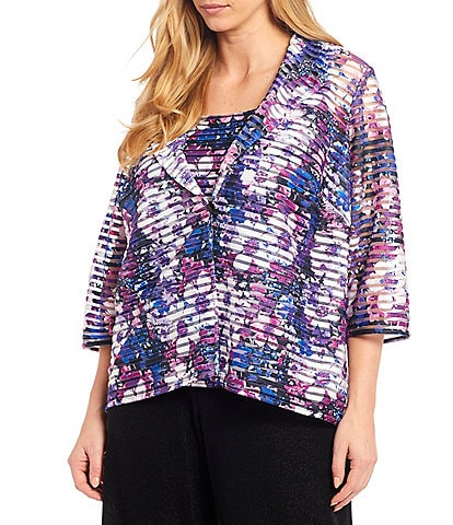 Alex Evenings Plus Size Floral Print Jacquard Twinset