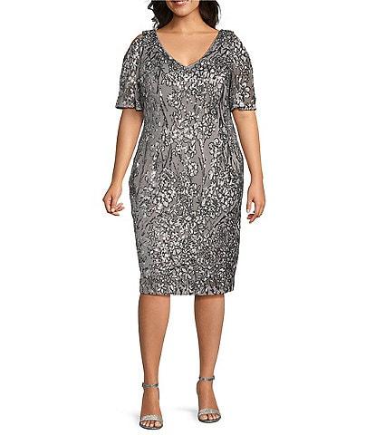 Alex Evenings Plus Size Floral Sequin V-Neck Flutter Sleeve Sheath Dress