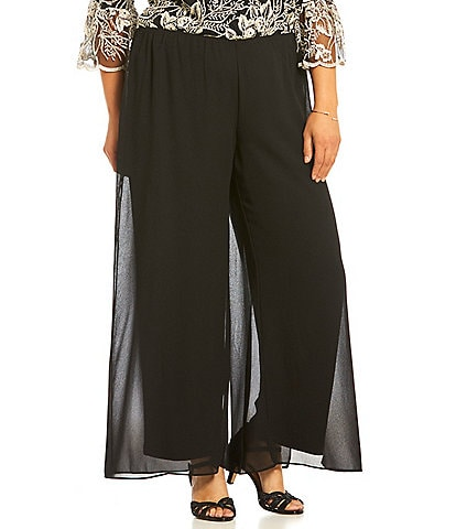Alex Evenings Plus Size Georgette Wide Leg Pants