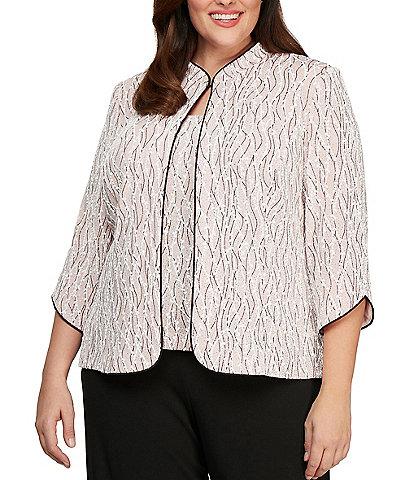 Alex Evenings Plus Size Glitter Jersey Knit Mandarin Collar 2-Piece Twinset