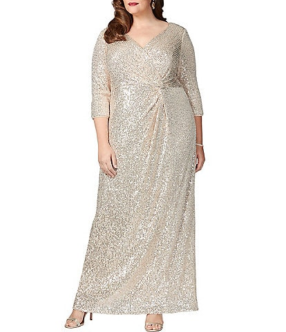 Alex Evenings Plus Size Knot Front 3/4 Sleeve Sequin Gown