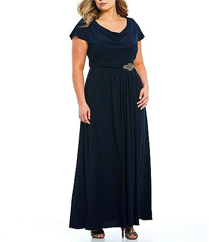 723982653a Alex Evenings Plus Size Matte Jersey Cowl Neck Pleated Embellished Side  Detail Long Gown