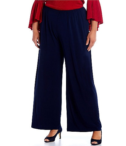 Alex Evenings Plus Size Matte Jersey Wide Leg Long Pant