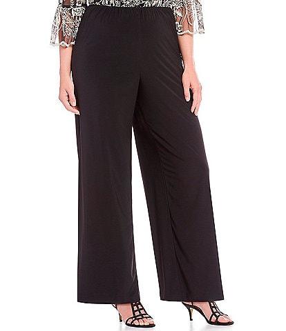 Alex Evenings Plus Size Matte Jersey Wide Leg Long Pant