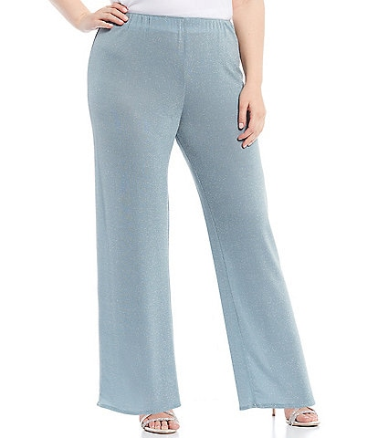 Alex Evenings Plus Size Metallic Knit Straight Leg Pants