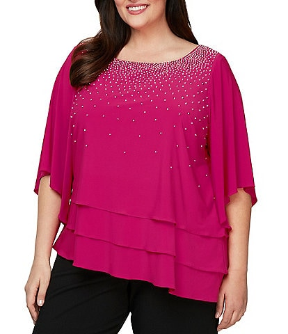 Alex Evenings Plus Size Pearl Applique 3/4 Sleeve Asymmetrical Tiered Top