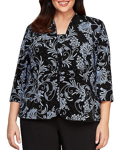 Alex Evenings Plus Size Printed Glitter Knit Twinset