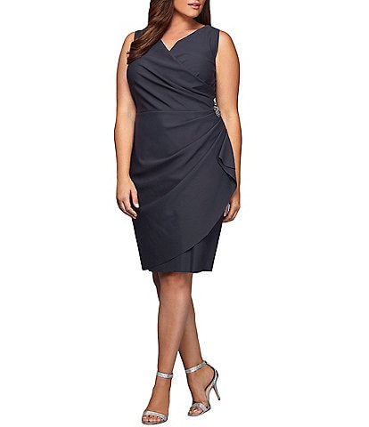 Alex Evenings Plus Size Ruched Embellished Waist Surplice V-Neck Sheath Dress