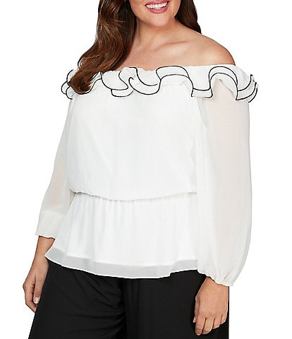 Alex Evenings Plus Size Ruffle Trim Off-the-Shoulder Blouse