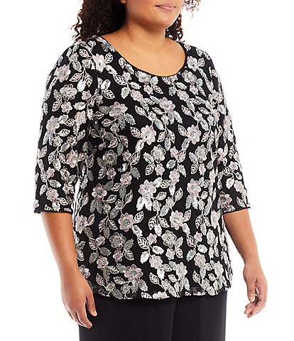 Alex Evenings Plus Size Jewel Neck 3/4 Sleeve Floral Sequin Embroidered Tunic