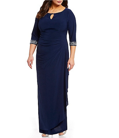 Alex Evenings Plus Size Side Ruched Embellished Cuff Gown