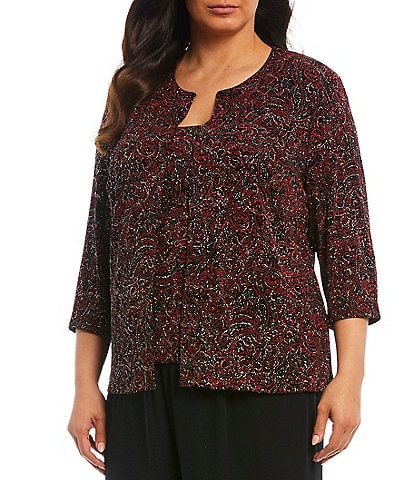 Alex Evenings Plus Size Slinky Shimmer Printed Twinset