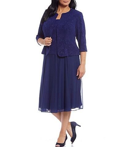 Alex Evenings Plus Size Soft Stretch Glitter Jacquard Knit 2-Piece Jacket Dress