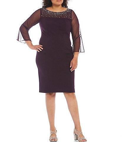 Alex Evenings Plus Size Stretch Crepe Embellished Illusion Neck Sheath Dress
