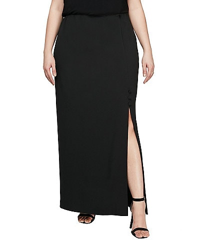 Alex Evenings Plus Size Stretch Crepe Side Slit Long Column Skirt