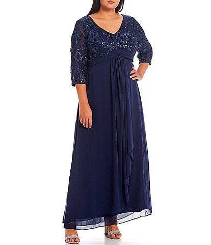 Alex Evenings Plus Size Stretch Sequin Mesh V-Neck Empire Waist Drape Front 3/4 Sleeve Gown