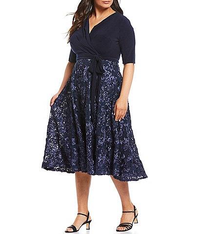 Alex Evenings Plus Size Tea Length Rosette Skirt Party Dress