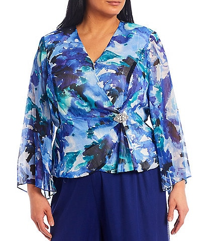 Alex Evenings Plus Size V-Neck Long Sleeve Printed Chiffon Blouse