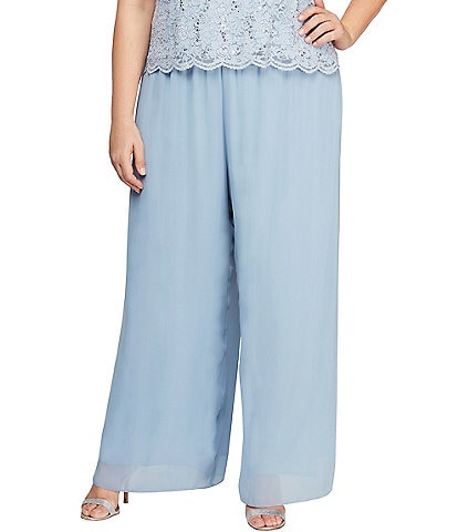 Alex Evenings Plus Size Wide Leg Pull-On Pants