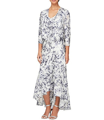 Alex Evenings Printed Burnout Chiffon 2-Piece Jacket Dress