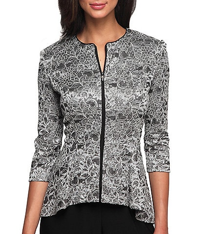 Alex Evenings Printed Lace Zip-Front Jacket