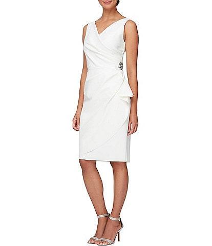 Alex Evenings V-Neck Sleeveless Ruched Sheath Dress